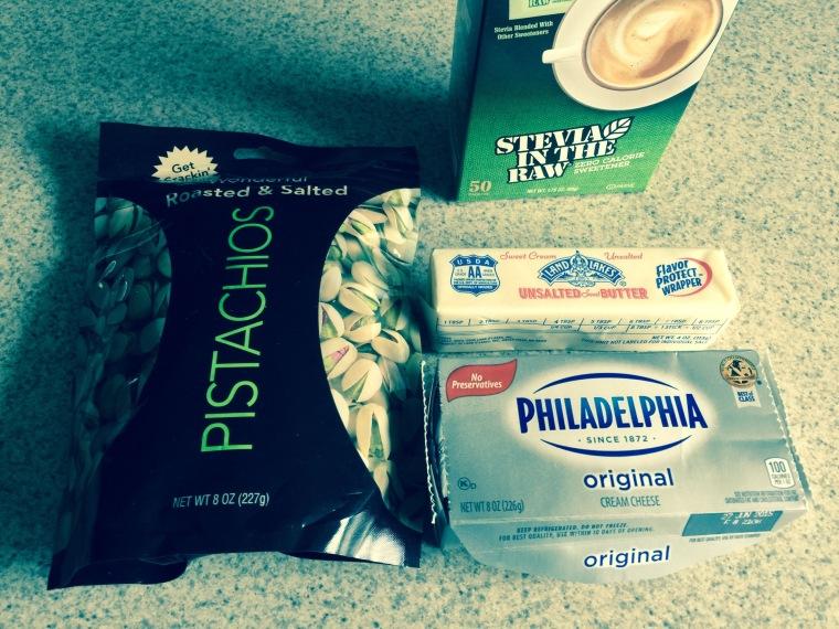 Ingredients- 1 stick of unsalted butter, 1 block or 8 oz of regular cream cheese, low carb sugar of choice, nuts of choice.