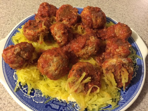 Dinner- Spaghetti Squash and Meatballs!